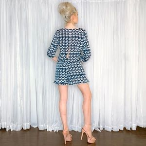 Collective Concepts Pants - Blue Pattern Long Sleeve Shorts Romper